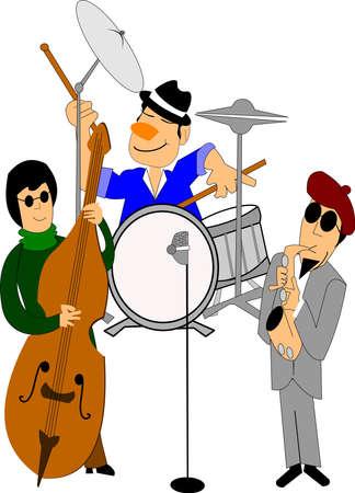 jazz ensemble over white