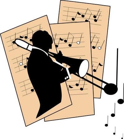 sheet music: trombone player over sheet music
