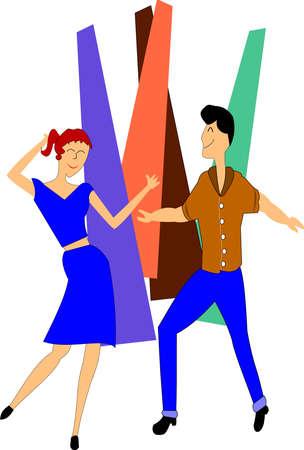 teens dancing  Vector