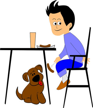sitting at table: boy feeding his dog underneath the table at dinner Illustration