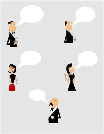 bald woman: cartoon chat people in formal attire Illustration