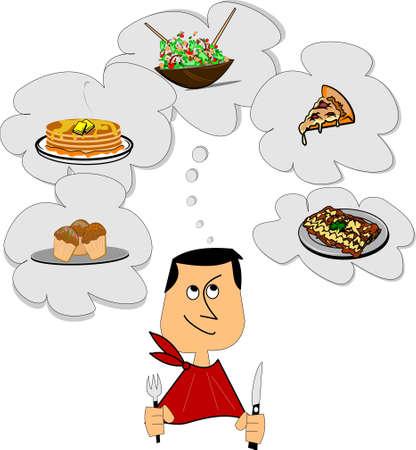 hombre comiendo: el pensamiento del hombre con hambre de alimentos