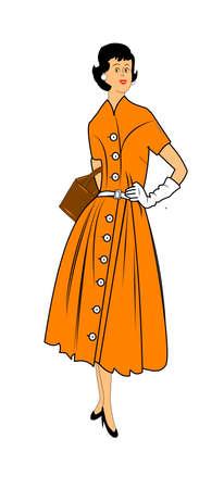 レトロ: 50 年代時代の女性が白でポーズ
