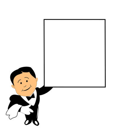 restaurant staff: waiter with blank board for your message