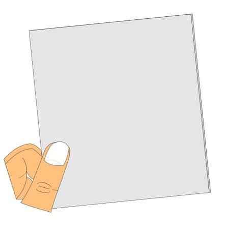 hand holding paper: mans hand holding blank paper