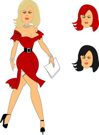 big breast woman: sexy secretary over white