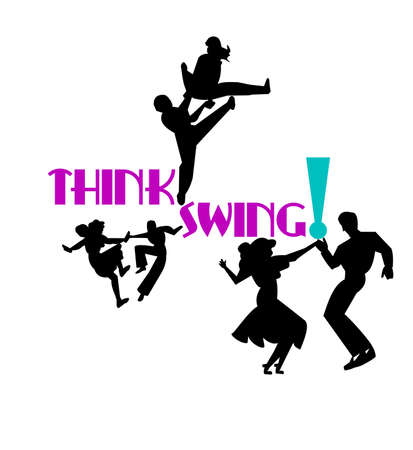 think swing dancers Stock Illustratie