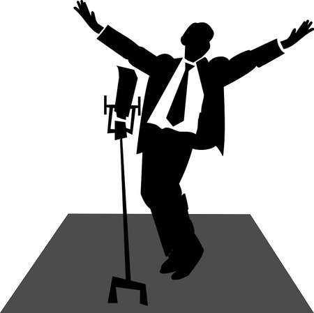 pop singer: singer on stage with microphone  Illustration