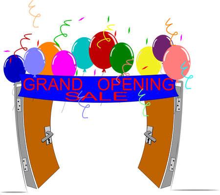 opening party: ilustraci�n de la gran apertura sobre blanco Vectores