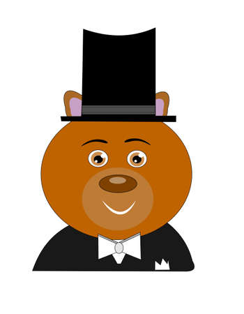 tophat: teddybear dressed in tux and tophat  going to ball Illustration