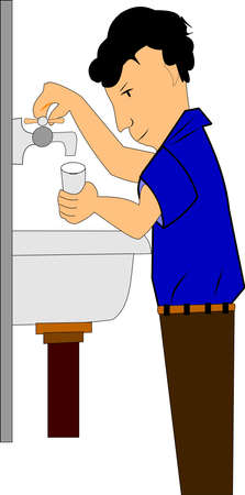 basin: boy getting water from sink in retro style  Illustration