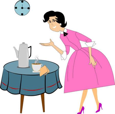 retro lady serving coffee Vector