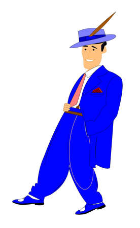 dapper: man in zoot suit over white  Illustration
