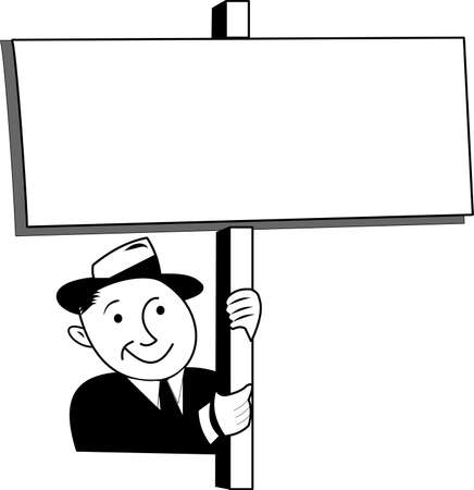 retro man holding sign above his head