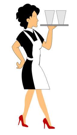 waitress carrying tray of drinks over white Stock Vector - 14601111