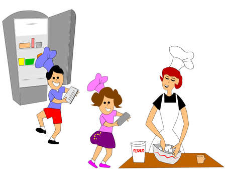 measuring cup: kids helping mom in the kitchen over white