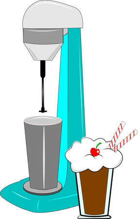 jerk: milkshake machine over white with milkshake
