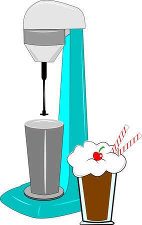 milkshake machine over wit met milkshake Stock Illustratie