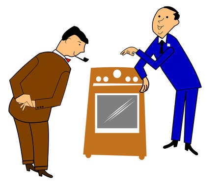 stove pipe: SALESMAN SELLING AN APPLIANCE IN RETRO STYLE