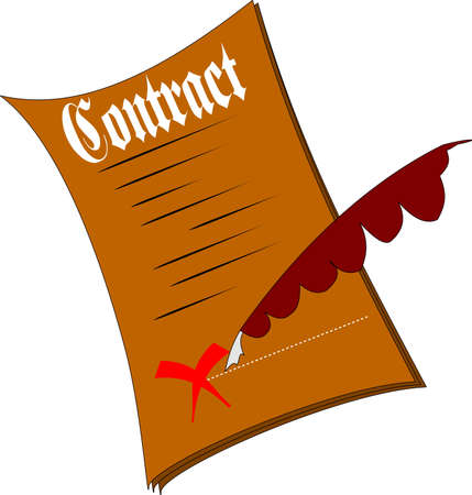 signing papers: contract over white clipart Illustration