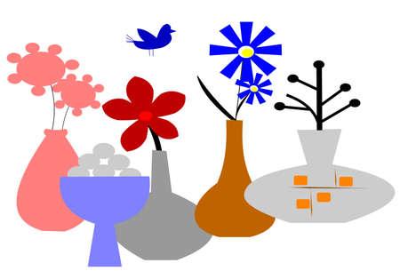 illustation: retro vases over white illustation