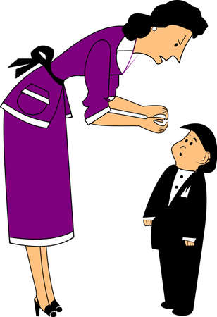 mom talking to boy Ilustração