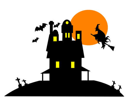 haunted house clip art over white