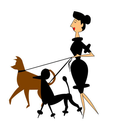 lady walking her dogs over white Vector