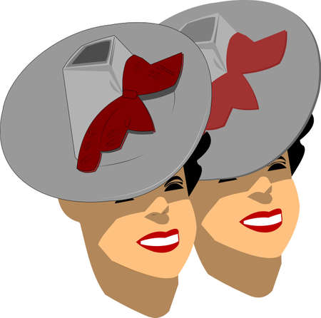 twins with fashionable hats over white Vector