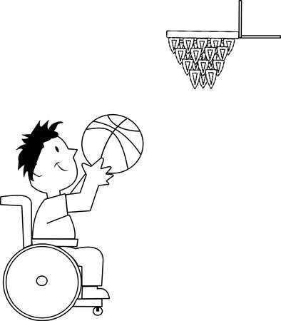 basketball player in wheelchair shooting hoops