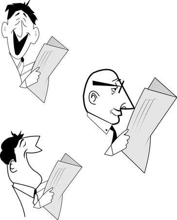men reading newspaper over white Stock Vector - 14801277