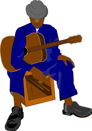 old blues guitarist sitting on box