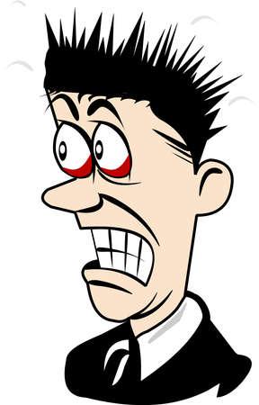 asustado: hombre asustado sobre la figura de dibujos animados blanco
