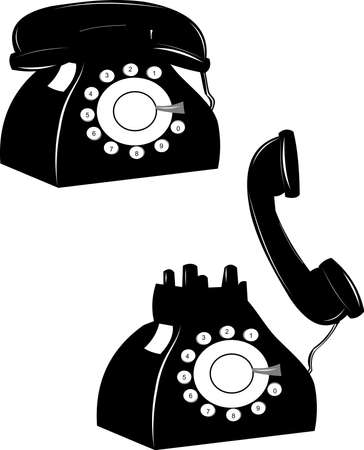 earpiece: rotary telephone on hook and off over white