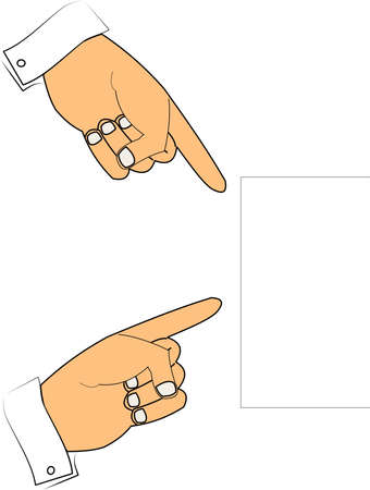 cuff link: hands pointing to copy space sign with your text message
