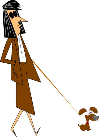 miserable: lady walking her very small dog over white