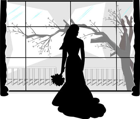 window sill: jilted bride over white silhouette Illustration