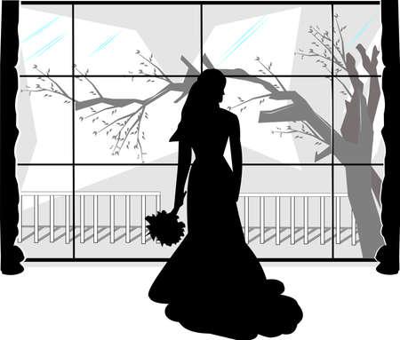 novia plantado más de silueta blanca