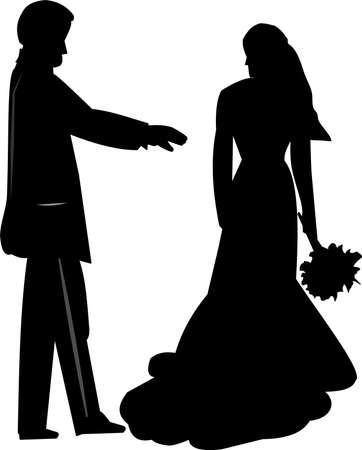bruid en bruidegom silhouet