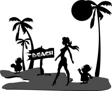 scarf beach: hollywood diva walking to beach