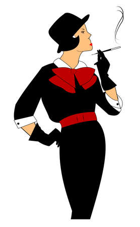 retro lady smoking a cigarette with holder  Vectores