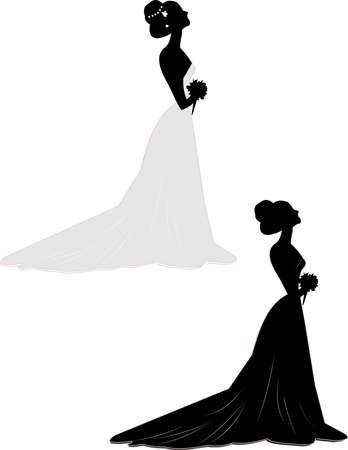 bride in gown in 2 styles  Vector