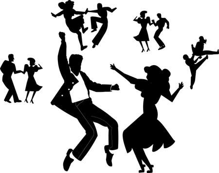 DANCERS IN SILHOUETTE FROM BYGONE ERA Vector