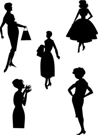 the fifties: moda retro Vectores