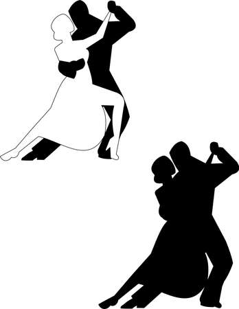 tango dancers in silhouette Stock Vector - 15218465
