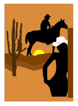 cowgirl and cowboy: cowgirl missing her man concept  Illustration