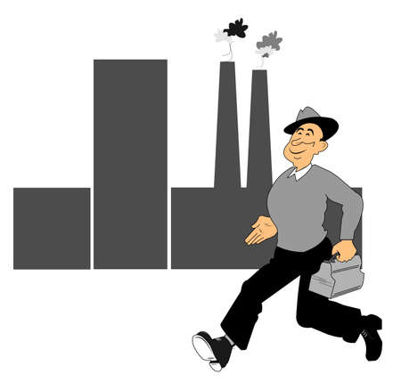 off to work   finally found a job Stock Vector - 14996896