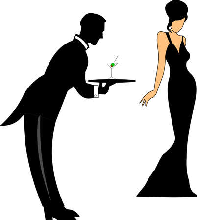 waiter serving martini to lady in gown
