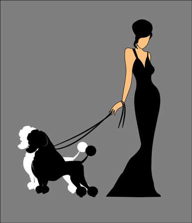 Signora che tiene i suoi cani al guinzaglio Archivio Fotografico - 14992817