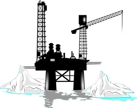 surrounding: oil rig with icebergs surrounding it